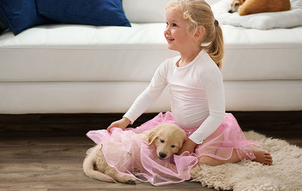 young girl and puppy both dressed in tutus sitting on Metroflor Genesis hardwood floors