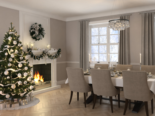 3d rendering. luxury dining room with christmas decoration.