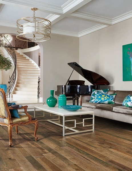 up-scale family room featuring Riviera by Palmetto Road wood floors